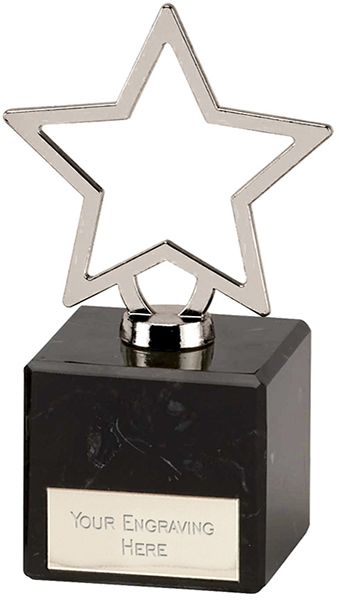 "Silver Galaxy Cast Metal Star Trophy on Marble Base 12cm (4.75"")"