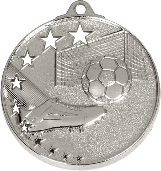 """Silver Football Boot and Stars Medal 52mm (2"""")"""