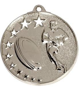 """Silver Rugby Medal with Stars 52mm (2"""")"""