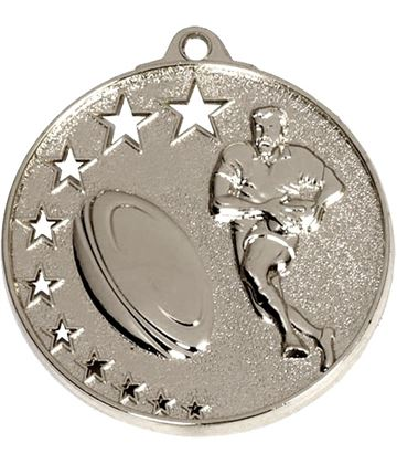 "Silver Rugby Medal with Stars 52mm (2"")"