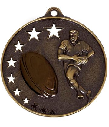 "Bronze Rugby Medal with Stars 52mm (2"")"