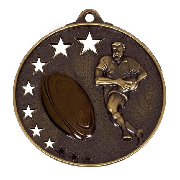"""Bronze Rugby Medal with Stars 52mm (2"""")"""