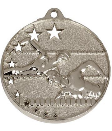 "Silver Swimming Medal with Stars 52mm (2"")"
