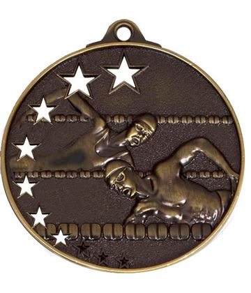 "Bronze Swimming Medal with Stars 52mm (2"")"