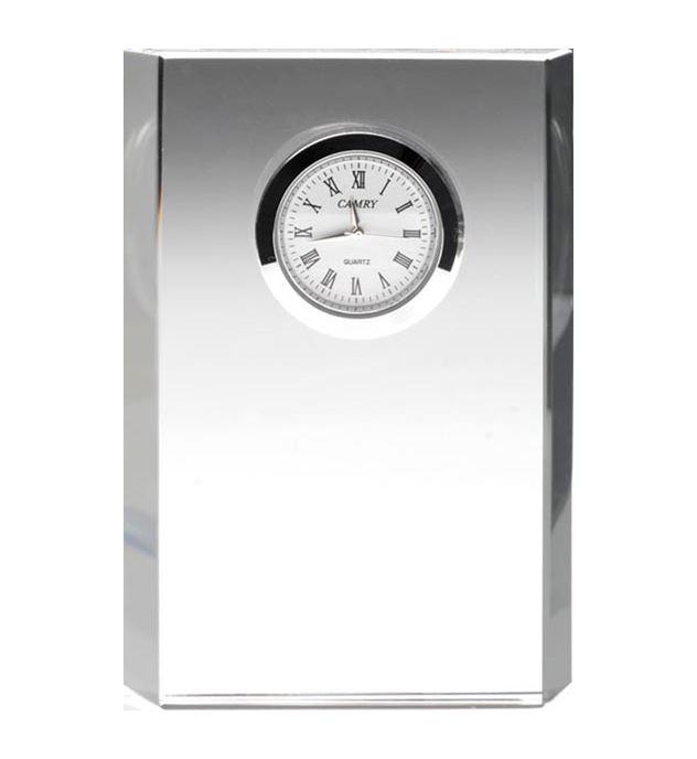 "Glass Bevelled Rectangle Clock 12cm (4.75"")"