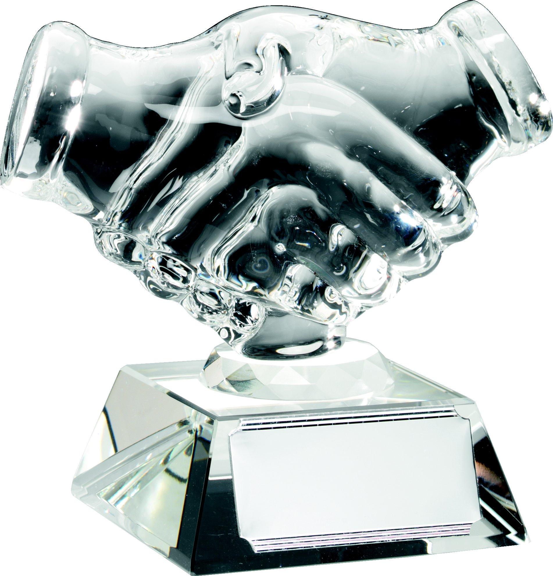 "Glass Handshake Trophy 11cm (4.25"")"
