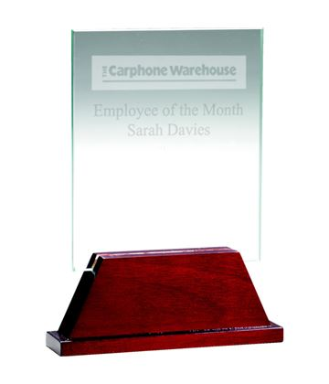 "Rectangle Glass Award on Rosewood Base 16.5cm (6.5"")"