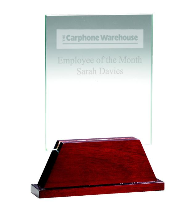 "Rectangle Glass Award on Rosewood Base 12.5cm (5"")"