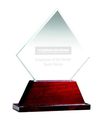 "Diamond Glass Award on Rosewood Base 16.5cm (6.5"")"