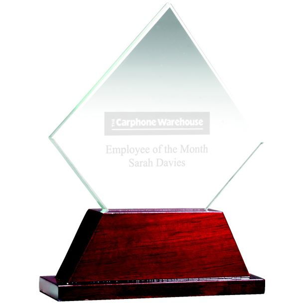 "Diamond Glass Award on Rosewood Base 11cm (4.25"")"