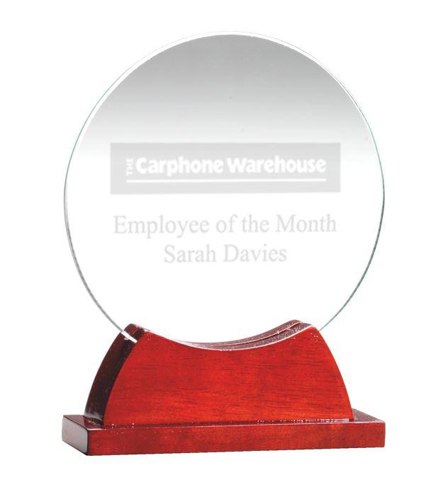 """Round Glass Award on Rosewood Base 16cm (6.25"""")"""