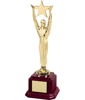 "Gold Plated Figure Holding Star On Piano Wood Base 29.5cm (11.5"")"