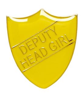 Deputy Head Girl Shield Badge Yellow 22mm x 25mm