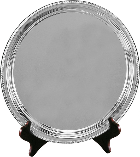 "Silver Plated Round Salver on Wooden Stand 23cm (9"")"
