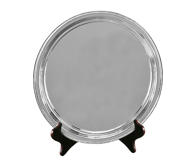 """Silver Plated Round Salver on Wooden Stand 27.5cm (11"""")"""