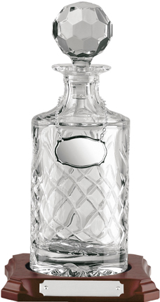 """1/2 Litre Hand Cut Crystal Decanter on Wooden Base 27.5cm (10.75"""")"""