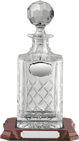 "3/4 Litre Hand Cut Crystal Square Decanter on Wooden Base 28cm (11"")"