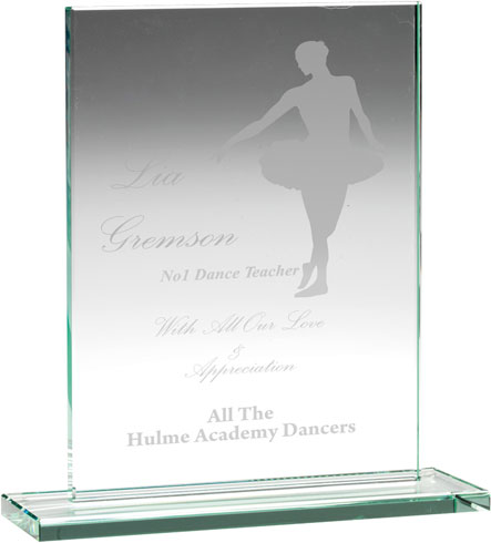 "Jade Glass Rectangle Plaque on Base 20.5cm (8"")"