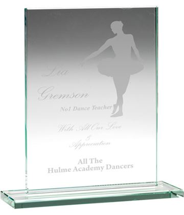 "Jade Glass Rectangle Plaque 18cm (7"")"