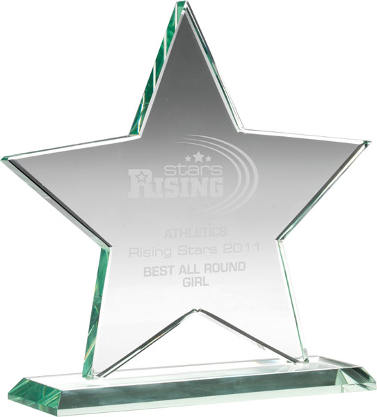 "Jade Glass Star Award 16cm (6.25"")"