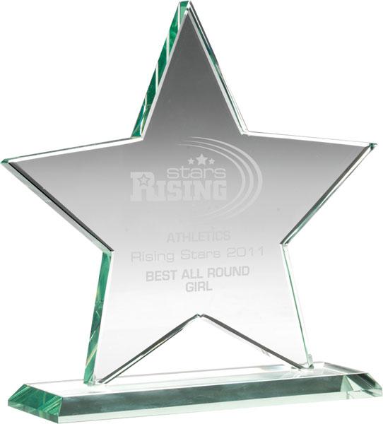 "Jade Glass Star Award on Base 17cm (6.75"")"