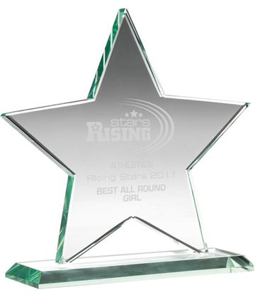 "Jade Glass Star Award 17cm (6.75"")"