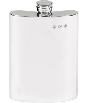 "Plain Finish 6oz Pewter Hip Flask 12cm (4.75"")"