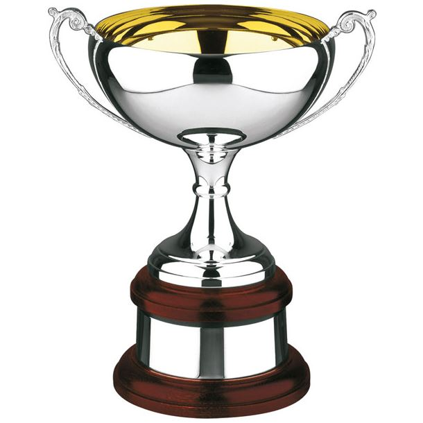 """Silver Plated Celtic Cup on Mahogany Base 24cm (9.5"""")"""