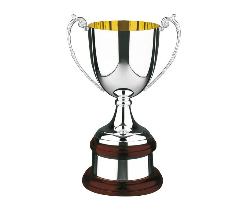 """Silver Plated Presentation Cup on Mahogany Base 23.5cm (9.25"""")"""