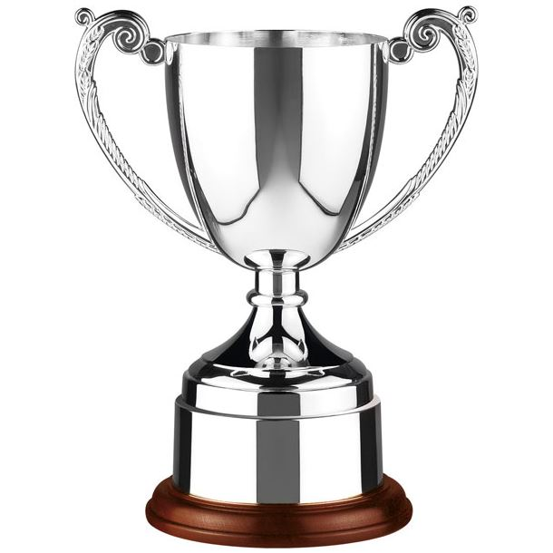 """Nickel Plated Short Stem Cast Cup on Wooden Base 30.5cm (12"""")"""
