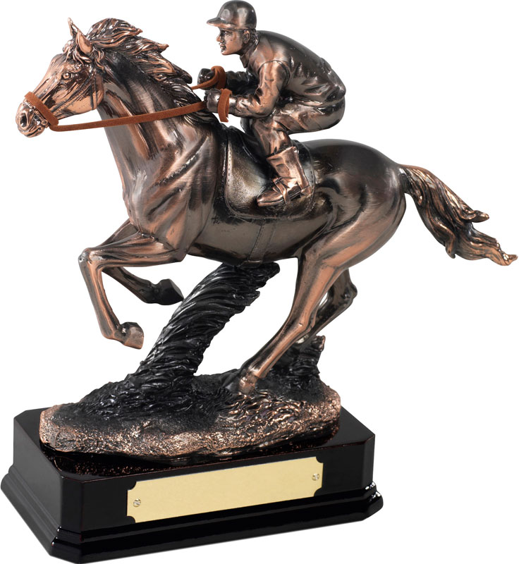 "Antique Copper Plated Horse Racing Figure 19cm (7.5"")"