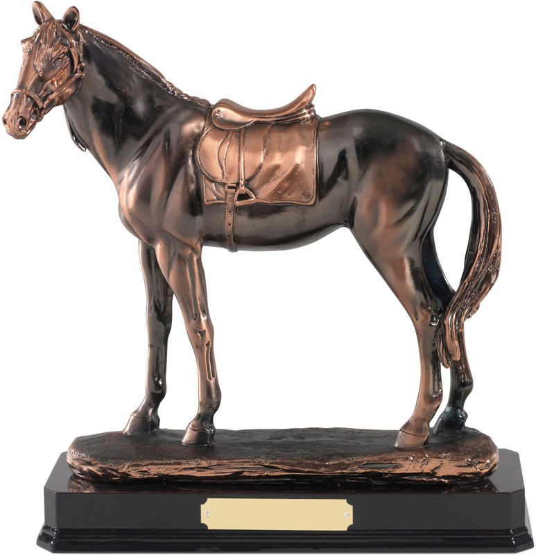 "Antique Copper Plated Horse Figure 25.5cm (10"")"
