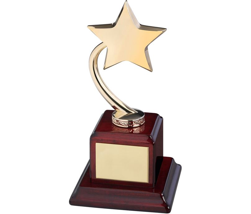 "Gold Metal Shooting Star Award on Square Base 23.5cm (9.25"")"