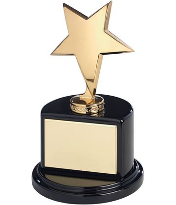"Polished Gold Metal Star Award on Semi-Circle Base 19cm (7.5"")"