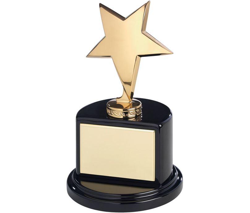 "Polished Gold Metal Star Award on Semi-Circle Base 19cm (7.5"")"