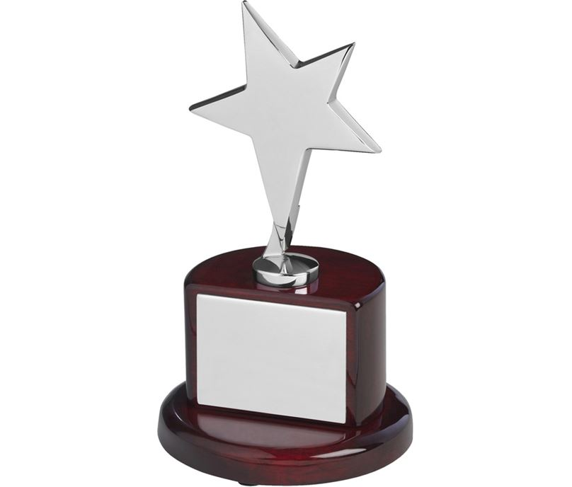 "Polished Silver Metal Star Award on Rosewood Base 18cm (7"")"