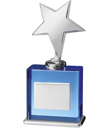 "Silver Shooting Star on Blue Optical Crystal Base 20.5cm (8"")"