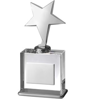 """Silver Shooting Star on Clear Optical Crystal Base 20.5cm (8"""")"""