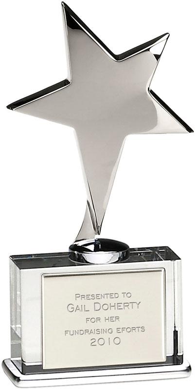 """Silver Shining Star Award on Glass Base 16.5cm (6.5"""")"""