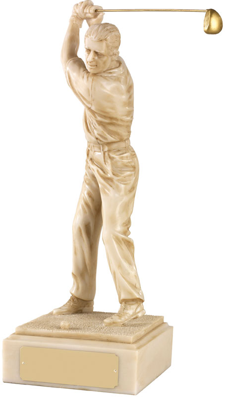 "Resin Ivory Finish Male Golf Figure 23cm (9"")"