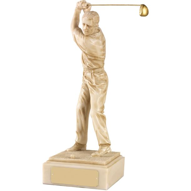 "Resin Ivory Finish Male Golf Figure 30.5cm (12"")"