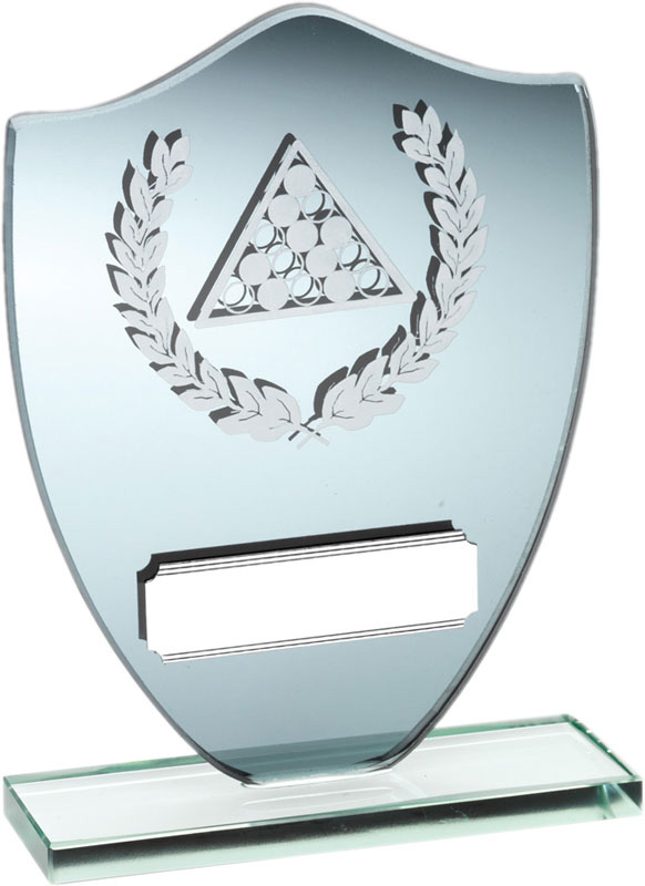 "Snooker Shield Mirror Glass Award with Laurel Design 15cm (6"")"