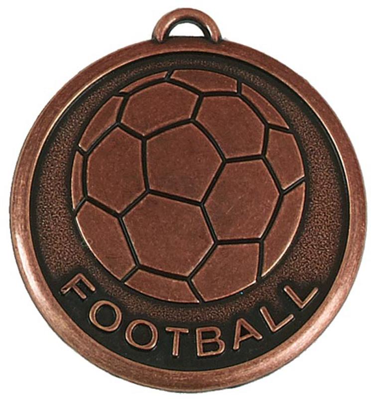 """Bronze Football Word & Ball Medal 50mm (2"""")"""