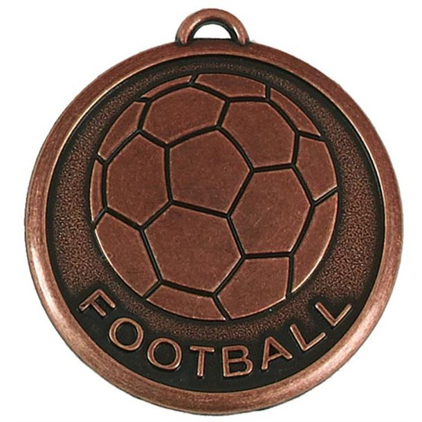 "Bronze Football Word & Ball Medal 50mm (2"")"