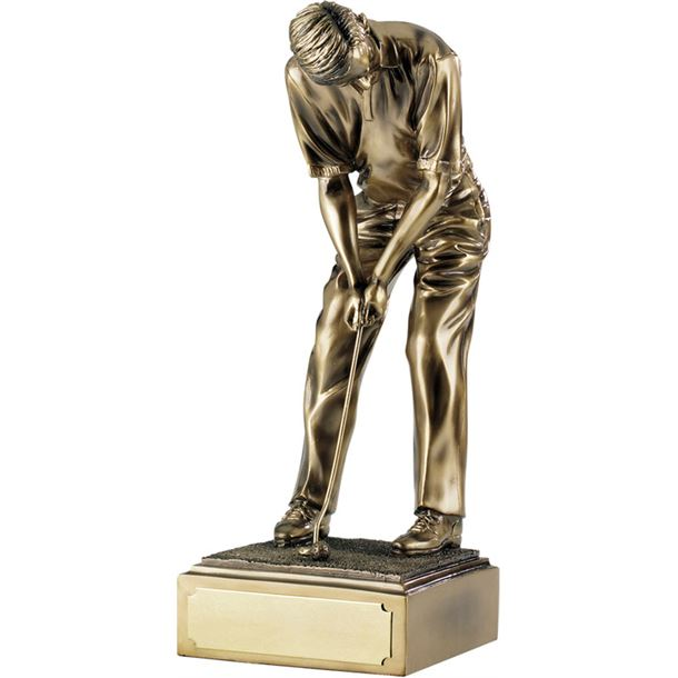 "Champion Resin Golf Figure Antique Gold 38.5cm (15.25"")"