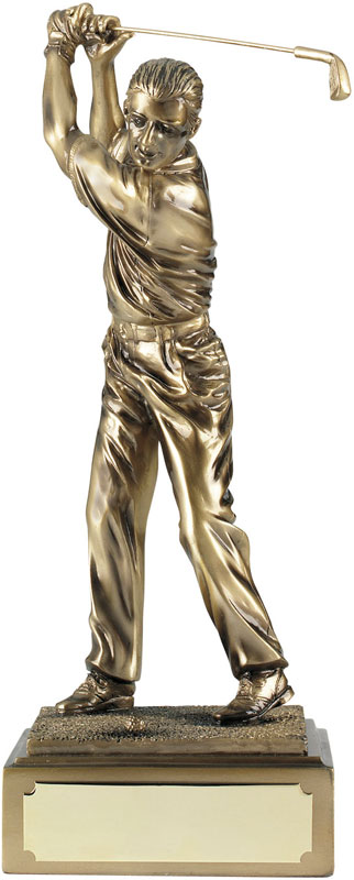 "Antique Gold Resin Male Golf Figure 15cm (6"")"