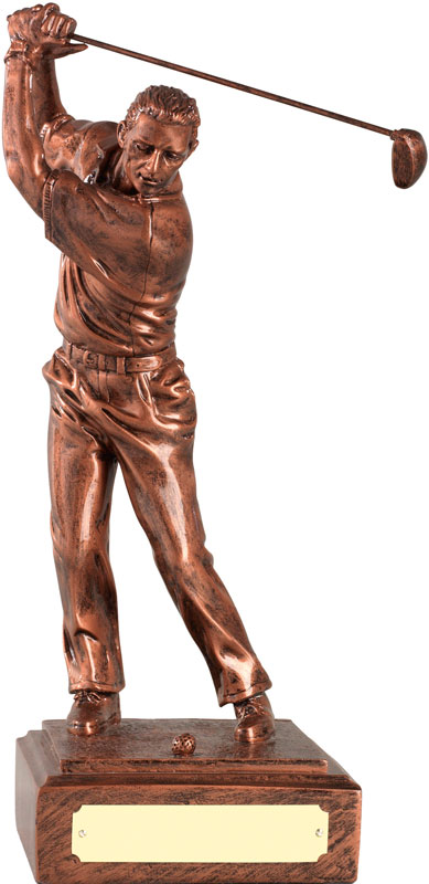 """Resin Male Golfer with Copper Finish 30.5cm (12"""")"""