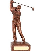 """Resin Male Golfer with Copper Finish 15cm (6"""")"""