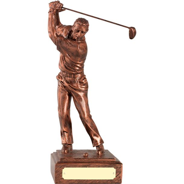 """Resin Male Golfer with Copper Finish 23cm (9"""")"""