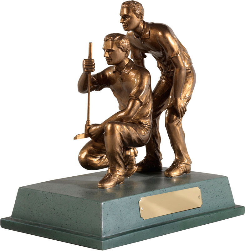 "Antique Gold Resin 'Golf Partners' Award 21.5cm (8.5"")"